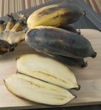 Bündel alte Bananen-Frucht auf einem hölzernen Brett Lizenzfreie Stockfotografie