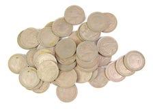 Bündel alte spanische Münzen des 5-Peseta-Darstellens Stockbilder
