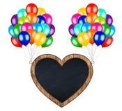 Bündel bunte Ballone, die Fliegenherz tragen, formte billboar vektor abbildung