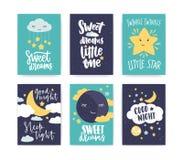 Bündel bunte Plakat- oder Fliegerschablonen mit gute Nacht- und der süßen Träumewünschen mit der eleganten Beschriftung handgesch lizenzfreie abbildung