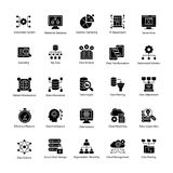 Bündel Daten-Wissenschaft Glyph Vektor-Ikonen Stockfotos