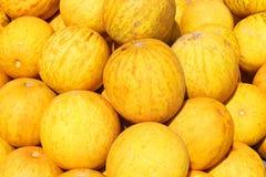Bündel der frischen reifen gelben Melone, Nahaufnahme Lizenzfreie Stockbilder