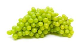 Bündel der reifen und saftigen grünen Traubennahaufnahme auf einem weißen backgro Stockfotos