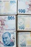 Bündel der türkischen Lira Stockfotografie