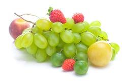Bündel der weißen Trauben, des Pfirsiches und der Pflaume Stockbilder