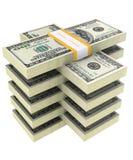 Bündel Dollar auf einem weißen Hintergrund Stockfotos