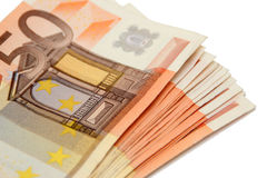 Bündel Eurobanknoten Stockfotografie