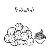 Bündel Falafel-Bälle und Soße Nahöstliche Küche Arabische traditionelle Mahlzeit Israel Vegetarian Healthy Fast Food Jüdisches st stock abbildung