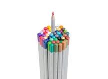Bündel farbige Bleistifte mit einem Bleistift ziehen teils aus Lizenzfreies Stockbild