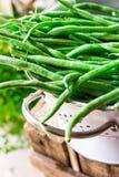 Bündel frische grüne Bohnen im Weißmetallsieb auf verwittertem hölzernem Gartenkasten, Kräuter, sauberes Essen Stockbild