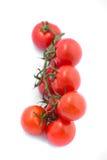 Bündel frische Tomaten mit Wassertropfen Lizenzfreie Stockfotografie