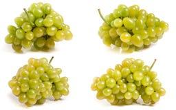 Bündel grüne Trauben getrennt auf weißem Hintergrund Satz oder Sammlung stockfoto