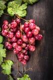 Bündel rosa saftige Trauben von der Rebe und von den Blättern auf dunklem Holztisch Lizenzfreies Stockfoto