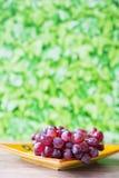 Bündel rote Trauben auf gelb-orangeer Platte, gegen grünen Unschärfehintergrund stockbild