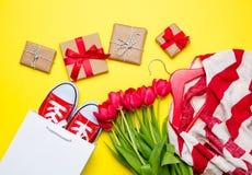 Bündel rote Tulpen, rote Gummiüberschuhe, kühle Einkaufstasche, gestreiftes ja Stockbilder