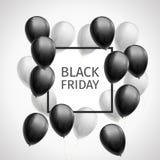 Bündel Schwarzweiss-Bälle um einen schwarzen Rahmen mit Aufschrift Black Friday vektor abbildung