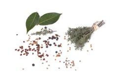 Bündel Thymian, Blattod-Lorbeer und bunte Samen stockfoto