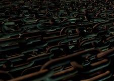 Bündel verrostete Ketten in der schwermütigen Beleuchtung schaffen Schmutzbeschaffenheit a Stockfotografie