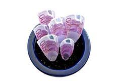 Bündel von 500 Euroanmerkungen, die in einem Potenziometer wachsen Lizenzfreie Stockfotos