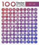 Bündel von 100 modernen Symbolen in der dünnen Linie Art Stockfotografie