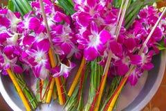 Bündel von Orchideen-Blumen mit Kerzen und von Joss Sticks für Anbetung der Mönch in der thailändischen Art Stockfoto