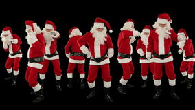 Bündel von Santa Claus Dancing Against Black, Weihnachtsfeiertags-Hintergrund, Gesamtlänge auf Lager