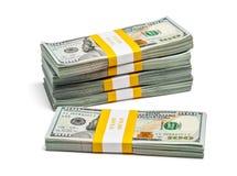 Bündel von 100 US-Dollars Ausgabenbanknoten 2013 Stockfotografie