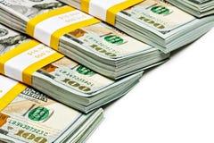 Bündel von 100 US-Dollars 2013 Banknotenrechnungen Stockbild