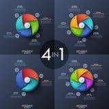 Bündel von vier infographic Designschablonen, Kreisdiagramme mit 3, 4, 5 und 6 gewundenen Elementen, Startknopf herein Stockfotografie