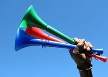 Bündel vuvuzelas Stockbild