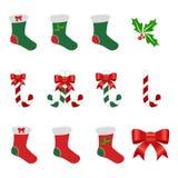 Bündel Weihnachtselemente Lizenzfreie Stockfotografie