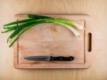 Bündeln Sie Zwiebel auf hölzernem Brett mit Messer, copyspace Lizenzfreie Stockbilder