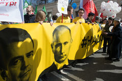 Bürger in der politischen Maifeiertagsdemonstration Stockbilder