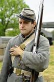 Bürgerkrieg-Miliz-Soldat reenactor Stockfotografie