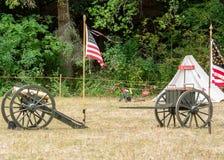 Bürgerkrieg wieder--enactement in Duncans-Mühlen, CA, USA stockbilder