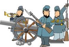 Bürgerkriegsoldaten und -kanone Stockfotos