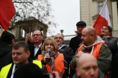 Bürgermeister der Stadt von Posen,› Jacek JaÅ kowiak, der Protest Ausschuss die Verteidigung der Demokratie (KOD), Posen, Polen Stockbild