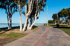 Bürgersteig durch Park Chula Vista Bayfront Stockbild
