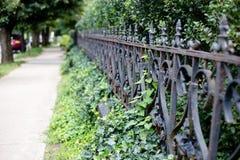 Bürgersteig und Zaun im Sommer lizenzfreie stockfotos