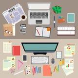 büro arbeit Realistische Arbeitsplatzorganisation Die Ansicht von der Oberseite Auf lagervektorabbildung lizenzfreie abbildung