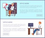 Büro-Arbeits-Plakat-Text-Beispielmänner Sit Workplace stock abbildung