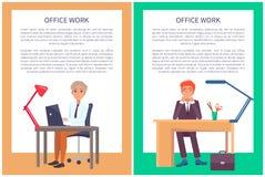 Büro-Arbeits-Plakat-Text-Beispielmänner Sit Workplace lizenzfreie abbildung