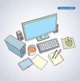 Büro-Arbeitsplatz, Hand gezeichnete Vektorillustration stock abbildung