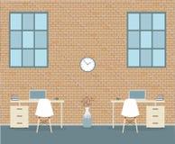 Büro in der Dachbodenart auf einem Ziegelsteinhintergrund vektor abbildung