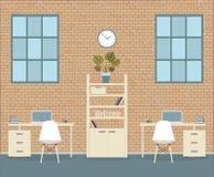 Büro in der Dachbodenart auf einem Ziegelsteinhintergrund lizenzfreie abbildung
