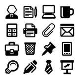 Büro-Ikonen eingestellt auf weißen Hintergrund Vektor Lizenzfreies Stockfoto