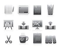 Büro-Ikonen eingestellte Schattenbild-Reihen-Zeichen Stockfotografie
