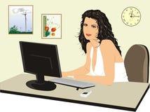 Büro-Manager nahe einem Computer vektor abbildung