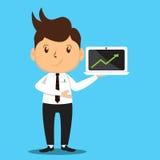 Büro-Mann, der Verkaufs-Laptop darstellt Lizenzfreie Stockfotografie