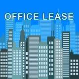 Büro-Miete beschreibt Illustration Real Estate-Büro-3d Stockfoto